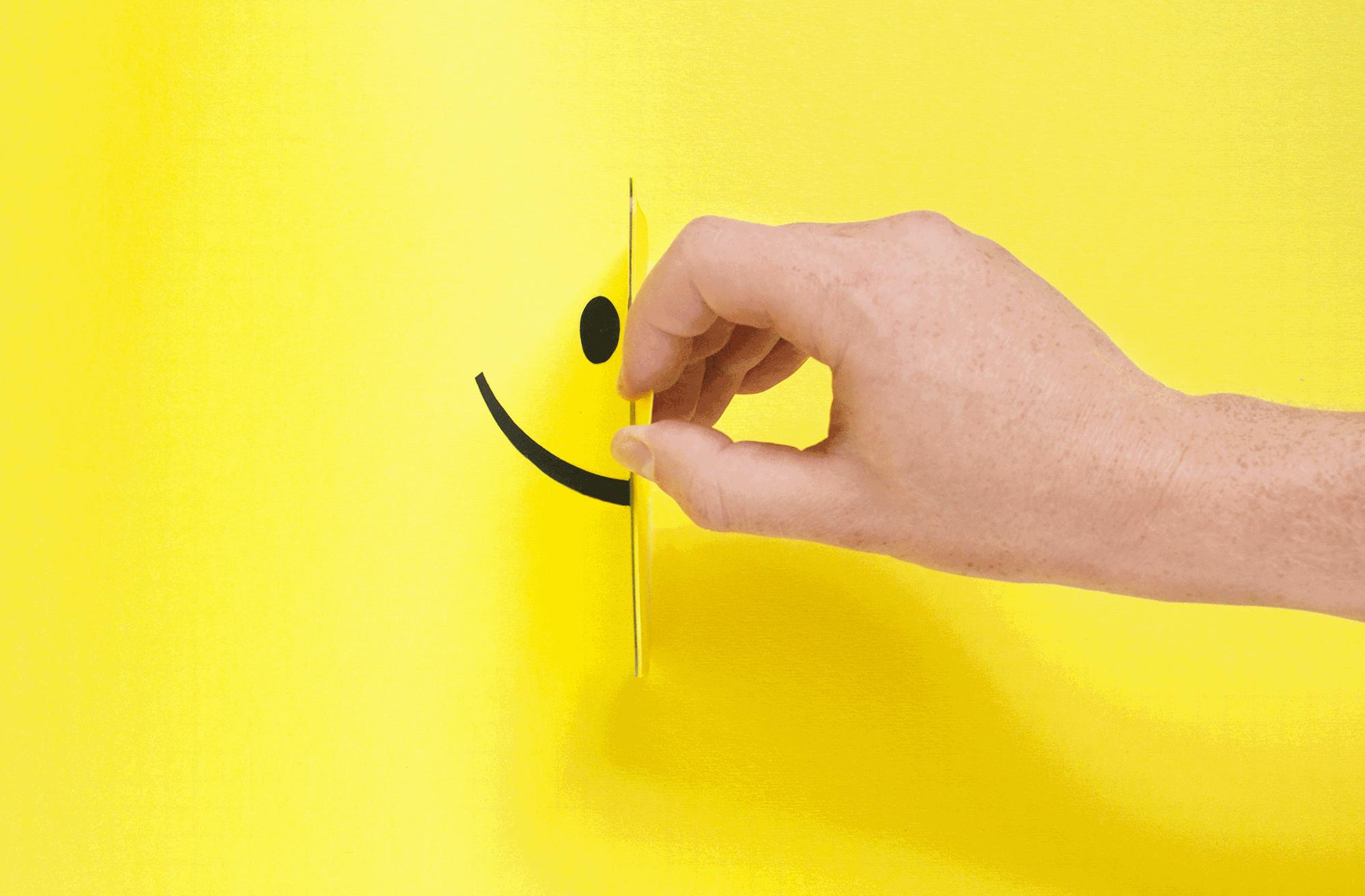 half carboad cutout smiley face